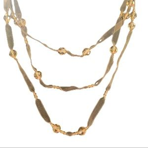 Gold organza necklace 3 strand